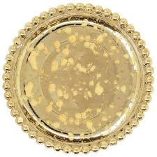 gold mercury glass beaded pillar candle