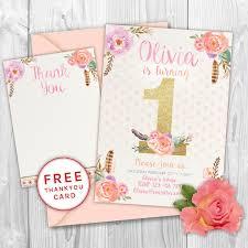 First Birthday Invitation Floral Birthday Invite Glitter