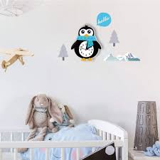 Amazon Com Clock Home Decoration Accessories 3d Children S Wall Clocks Penguin Room Bedroom Silent Wall Watches Multi Home Kitchen