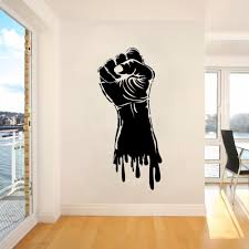Vinyl Wall Decal Fist Hand Strength Power Wall Sticker Gym Sports Decor Fist Hand Style Wall Art Poster Strength Stickers Ay307 Wall Stickers Aliexpress