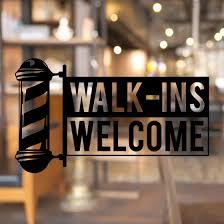Barber Pole Walk Ins Welcome Window Decal Sticker Gizmo