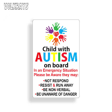 Volkrays Warning Car Sticker Autistic Child On Board Autism Awareness Safety Rescue Graphics Waterproof Decals Pvc 13cm 7cm Car Stickers Aliexpress
