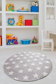 Antdecor Stars Grey Round Rug For Kids 200 Cm Cross Border Exporter