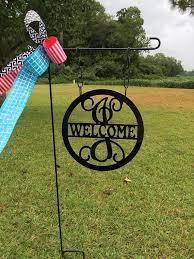 12 monogram welcome garden flag with