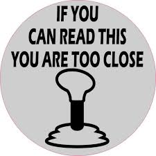 5in X 5in Gray Circle You Are Too Close Stick Shift Sticker Vinyl Decal Stickertalk