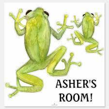 Cute Watercolor Little Boys Room Tree Frog Name Sticker Zazzle Com