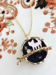 cat globe necklace gold plated star