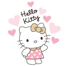Hello Kitty Luv Pink Gold Hearts Wall Decals