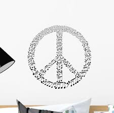 Music Notes Peace Sign Wall Decal Wallmonkeys Com