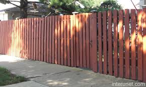 Painted Red Wood Fence Semi Privacy Picture Interunet