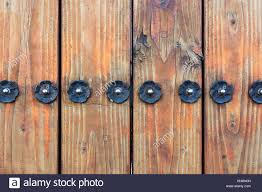 Wooden Fence Metal Flower Stud Screws Architectural Detail Stock Photo Alamy
