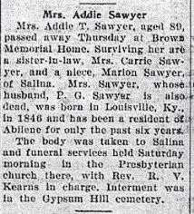 Mrs Addie Taylor Sawyer (1846-1935) - Find A Grave Memorial
