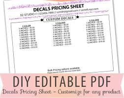 Fillable Editable Text Only Pdf Vinyl Decal Pricing Sheet Etsy Vinyl Decals Custom Decals Decal Sheets