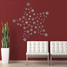 Amazon Com Lsdamw Wall Decal Stickers Waterproof Silver Star Wall Sticker Bedroom Living Room Wall Decoration Sticker Pvc Removable Decals 45 50cm Kitchen Dining