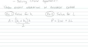 solving literal equations math s
