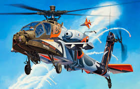 art painting helicopter ah 64 apache