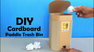 How To Make Cardboard Paddle Trash Bin Diy At Home Dustbin Making At Home Youtube