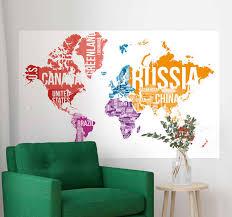 Countries World Map Wall Sticker Tenstickers