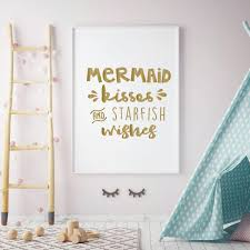 Beach Wall Decal Mermaid Kisses Starfish Wishes Quote Vinyl Living Bedroom Decor