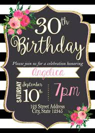 Black White Striped Birthday Invitation Stripes Pink Black And