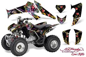 Honda Trx 250ex 250r 250x Atv Graphics Ed Hardy Love Kills Red Quad Graphic Decal Wrap Kit Honda Atv Graphic Kits Atv Graphic Kits