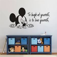 Disney Mickey Mouse Quote Wall Vinyl Decal Nursery Baby Room Decor Love Yourself Mickey Quote Vinyl Stickers Bedroom Wall Mural Wall Stickers Aliexpress