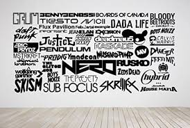 Amazon Com Wall Room Decor Art Vinyl Sticker Mural Decal Popular Dj Edm Electronic Music Names Big Large As749 Home Kitchen