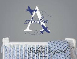 Name Wall Decal Aiden Airplane Monogram Wall Decals For Nursery Surface Inspired Home Decor Wall Decals Wall Art Wooden Letters