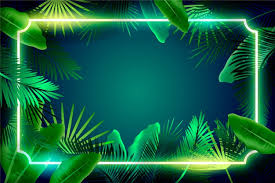 leaves with neon frame wallpaper style