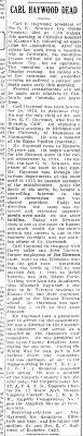 Obituary for Carl Benjamin Haywood - Newspapers.com