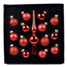 red glass tree topper bauble set 14