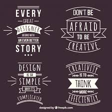 set of graphic design quotes in flat style vector