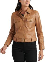 lucky brand belted leather jacket