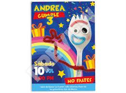 Invitacion Dig Para Fiesta Toy Story 4 Personalizada Forky 59 00 En Mercado Libre