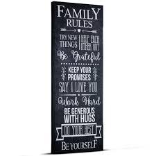 Crystal Art Family Rules Inspirational Text Wrapped Canvas Wall Art Walmart Com Walmart Com