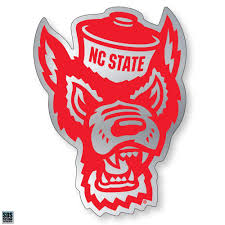 Nc State Wolfpack Chrome Wolfhead Decal Red And White Shop