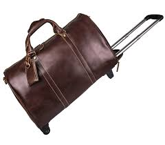 leather overnight travel rolling duffle