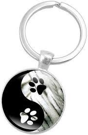 yin yang tai chi keychain cute pet dog