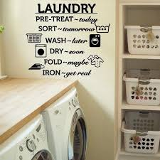Laundry Room Vinyl Wall Decal Wash Dry Fold Iron Quote Wall Sticker Laundry Room Decoration Wall Mural Removable Wallpaper Wish