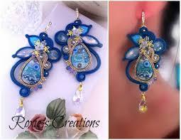 soutache earrings with crystal pendant