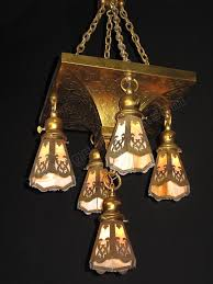 antique arts crafts chandelier slag