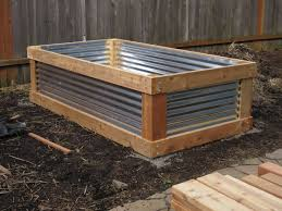 raised planters with corrugated metal
