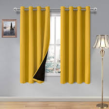 Amazon Com Dwcn 100 Blackout Curtains Thermal Insulated Energy Saving Noise Reducing Grommet Curtains For Living Room Bedroom And Kids Room Yellow W 52 X L 72 Inch Set Of 2