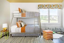gray bunk beds with black and white