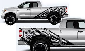Amazon Com Factory Crafts Nightmare Side Graphics Kit 3m Vinyl Decal Wrap Compatible With Toyota Tundra Double Cab 2014 2020 Matte Black Automotive