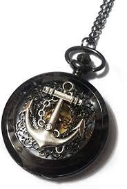 black pocket watch necklace chain