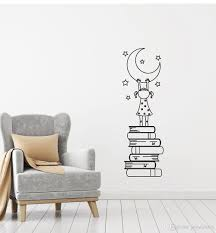 Girl Books Moon Stars Vinyl Decal Wall Sticker For Kids Nursery Love Reading Wall Decal Bedroom Home Decor Cute Stickers Star Wall Decals Star Wall Stickers From Joystickers 8 96 Dhgate Com