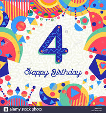 Feliz Cumpleanos 4 Ano Diseno Divertido Con Numero Texto De
