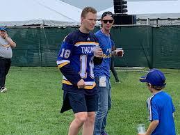 "19 year old Brady Tkachuk parading around St. Louis drinking ""water"" in a Robert  Thomas jersey. : hockey"