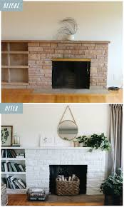 white painted fireplace makeover